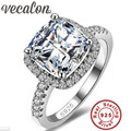 Vecalon S925 Logo 100% Solid 925 Sterling Silver Rings For Women 3CT SONA CZ Diamond Engagement Wedding Ring Fine Jewelry