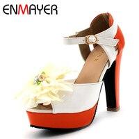 ENMAYER Ankle Strap Peep Toe Shoes Woman High Heels Summer Platform Bohemian Sandals Pumps Flowers Party