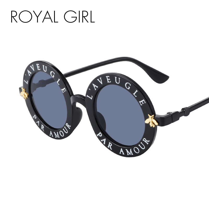 a8a3ebacf37 ROYAL GIRL Vintage Round Sunglasses Women 2019 Brand Designer Small Bee  Metal Frame Sun Glasses Men English Letter Oculos ss965-in Sunglasses from  Apparel ...