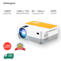 """4K Portable LED Projector HD 1080P for Home Theater and Office with 300"""" Projection Size Built in Speaker Support HDMI"""