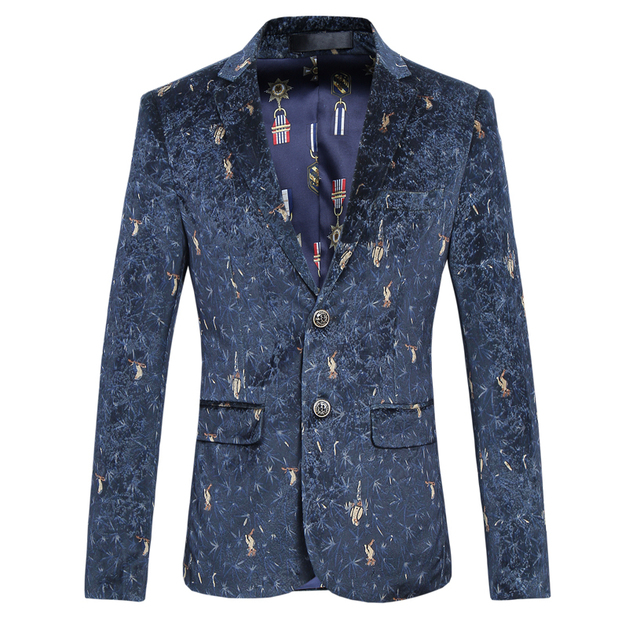 Качество Птица Печати Блейзер Мужчины Осень Новый Slim Fit мужская Blazer две Кнопки Формальные Куртка Мужчины С Длинным Рукавом Повседневная Мужчины Цветочный Куртка