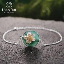 e266a70ddd71 Lotus Fun Подлинная 925 браслеты стерлингового серебра для женщин круглый  зеленый авантюрин цветок браслет серебро 925
