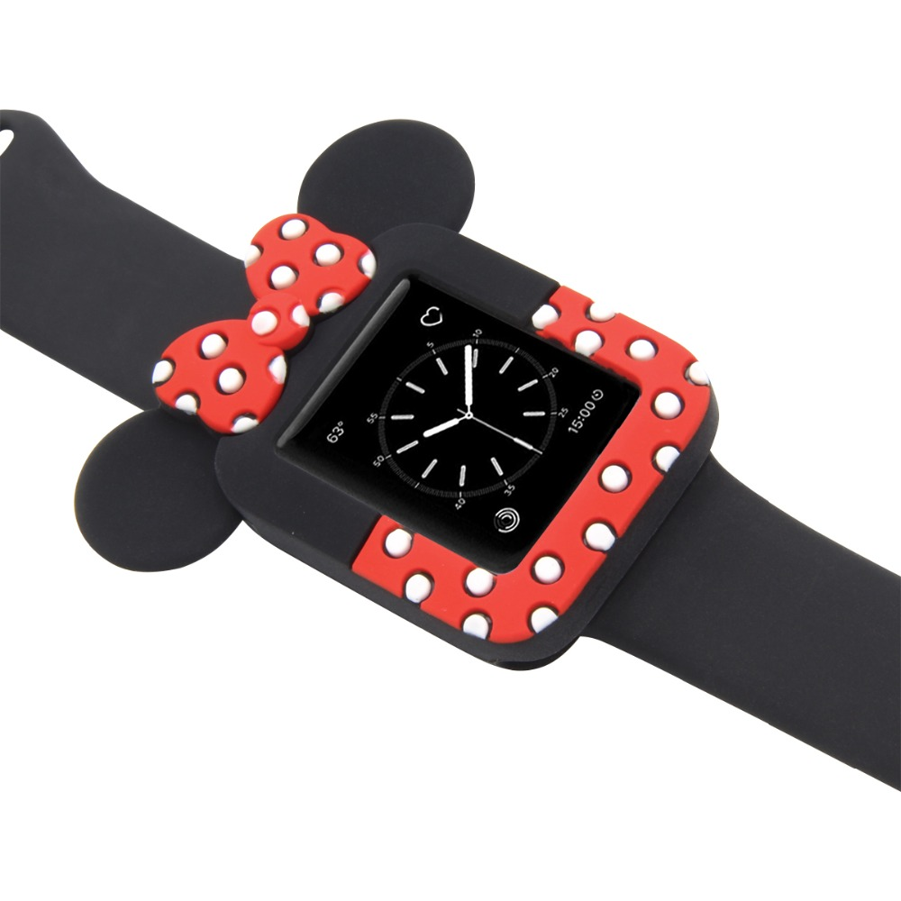 купить Minnie Watch Watchbands Silicone Soft Case For iWatch Series 123 Cover For Apple Watch 38mm 42mm Cute Mickey Mouse Ears case недорого