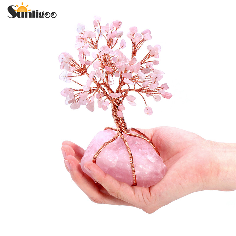 Sunligoo Natural Rose Quartz Tumbled Stones Money Tree Feng Shui Wealth Ornament Tree of Life Healing
