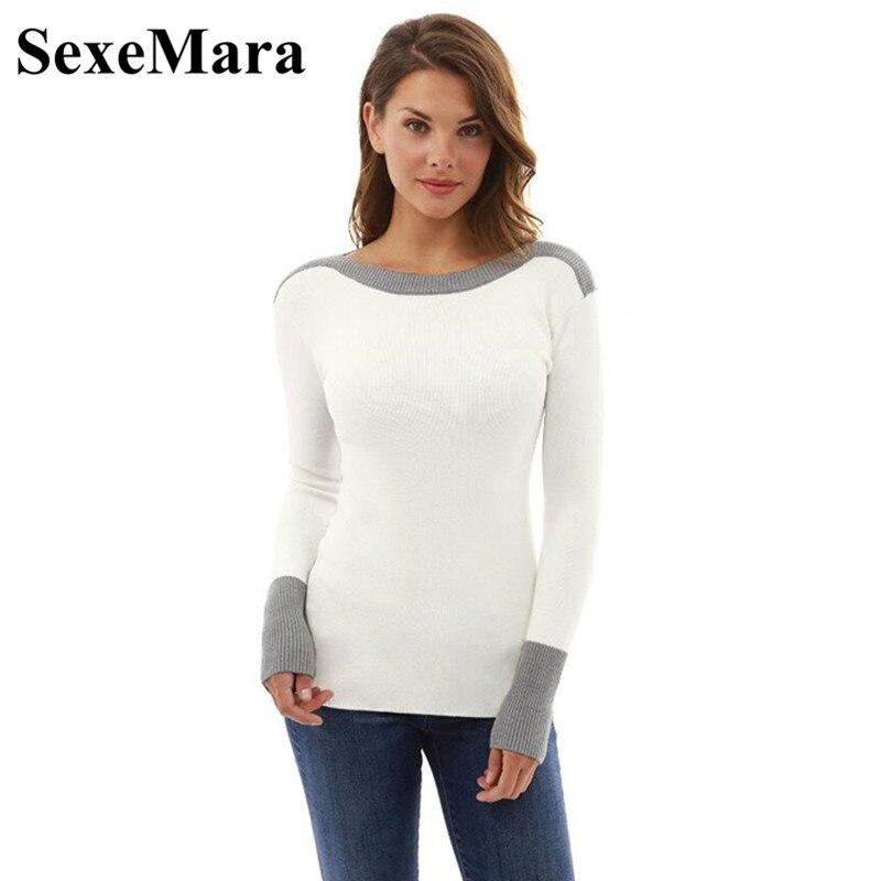 SexeMara Patchwork Knitted Sweater Women Pullover 2018 Autumn Winter Tops Casual Slim Long Sleeve Shirt Knit