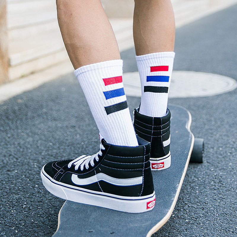 Spring Autumn Womens Cotton Crew Socks Harajuku Style Japanese Wild Green Striped Socks Street Fashion Trend Skateboard Socks Women's Socks & Hosiery Socks