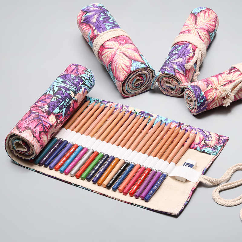 Kawaii โรงเรียนดินสอ 12/24/36/48/72 หลุมม้วน Pencilcase Penal สำหรับเด็กปากกาขนาดใหญ่กระเป๋าเครื่องเขียน Penalties กล่อง