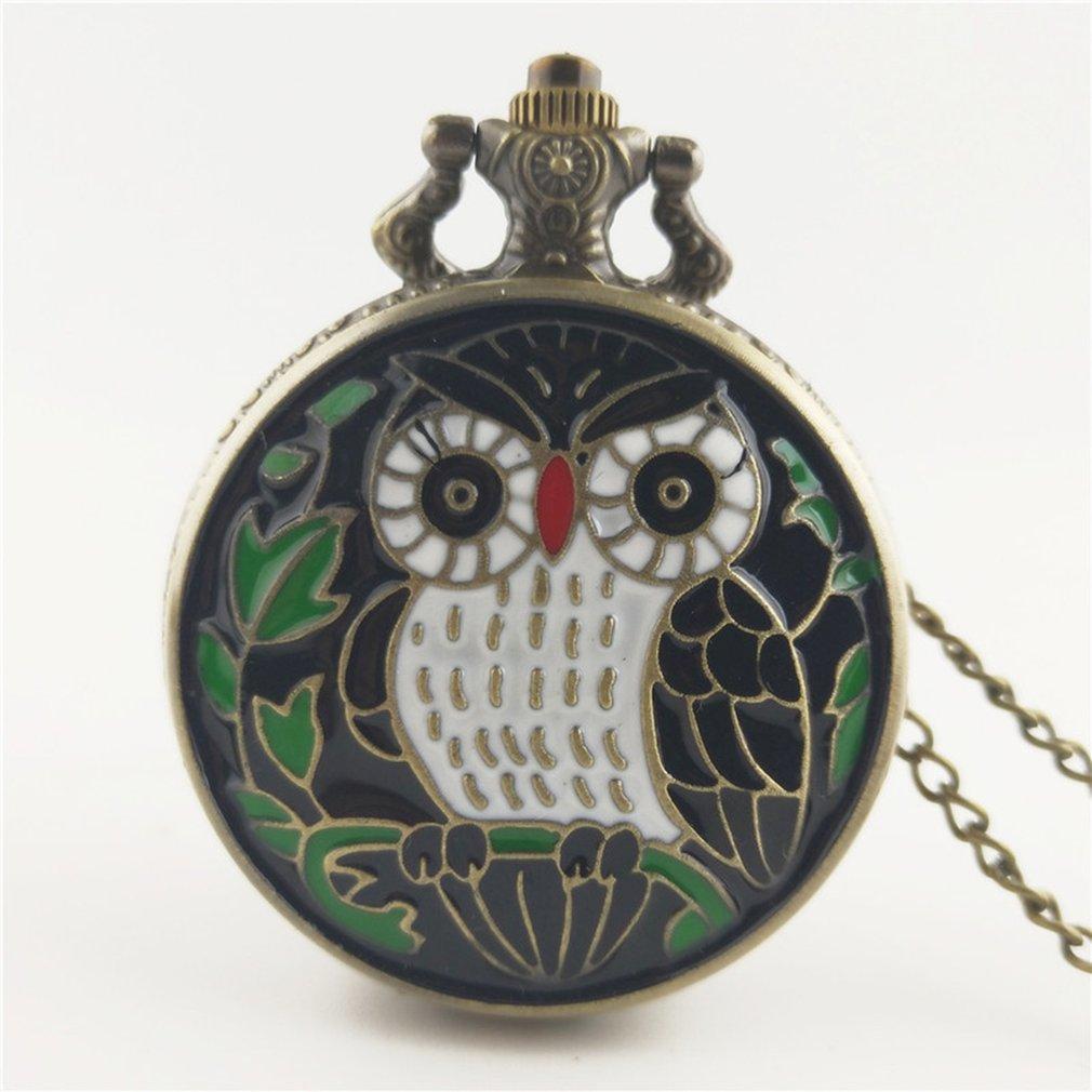 Cute Lovely Owl Pattern Steampunk Pocket Watch Vintage Charm Unisex Fashion Quartz Watch Women Men Necklace Pendant With Chain