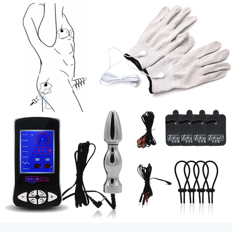 Penis Ring Massage Pad Anal Butt Plug Electro Sex Medical Themed Toys Electric Shock Kit,Electro Shock Sex Toys For Men Couples