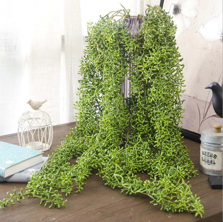 Artificial Bean Succulent plants wall Hanging Vine Flores Rattan fall Leaves For Home Wedding Decoration diy wreath Fake Flowers