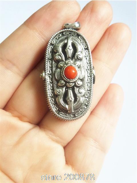 T9153 Dorje tibetano caixa de oração amuleto pingentes medalhões, Nepal índia 925 Antiqued jóias, Frete grátis
