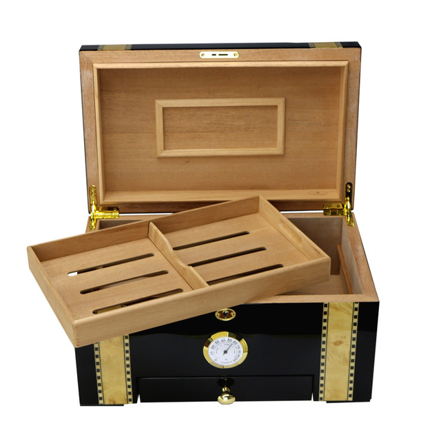 100ct Cigar humidor box with drawer Luxury Handicraft Wooden Boxes cigar accessories storage case