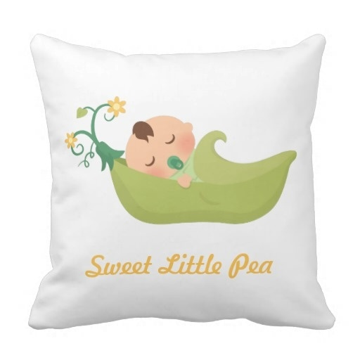 Pillow Case Designs For Baby Boy: Pillow Cushions Office Sweet Pea In A Pod Baby Boy Nursery Room    ,