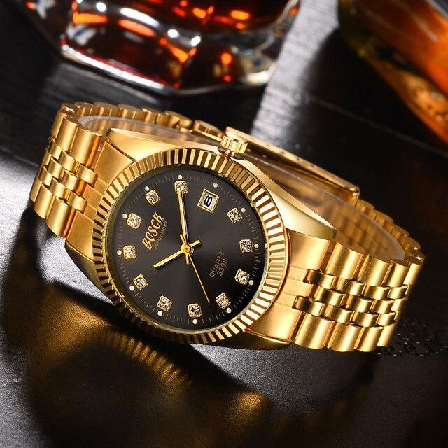 BOSCK Fashion Couples Wrist Watch Men Top Brand Luxury Diamond Gold Watch Women