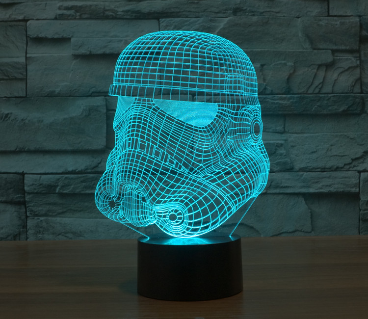 2017 color Stormtrooper Yoda Jedi LED night Star Wars Millennium Falcon Action Figures Darth Vader Mask 3D Table Lamp Led Toys