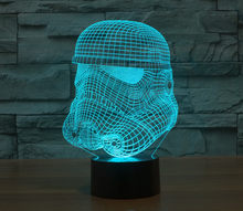 2017 Warna Nium Stormtrooper Yoda Jedi Malam LED Star Wars Millen Falcon Action Figure Darth Vader Masker 3D Lampu Meja LED Mainan(China)