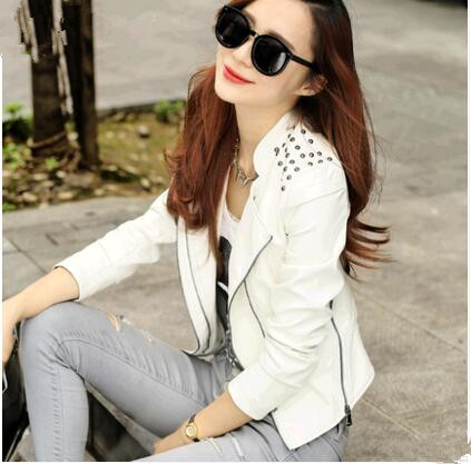 high quality womans   leather   jackets 2017 new style womens   leather   jackets and coats white   leather   jacket women slim   leather   coat