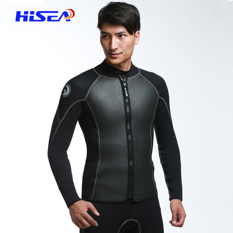2mm Neoprene Jacket Wetsuit Men's Diving Suit Scuba Snorkelling Suits Long Sleeve Front Zipper Top cropped wide sleeve top