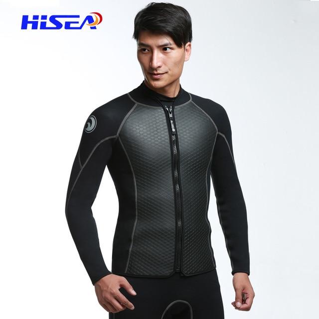 68f797efbb 2mm Neoprene Jacket Wetsuit Men s Diving Suit Scuba Snorkelling Suits Long  Sleeve Front Zipper Top