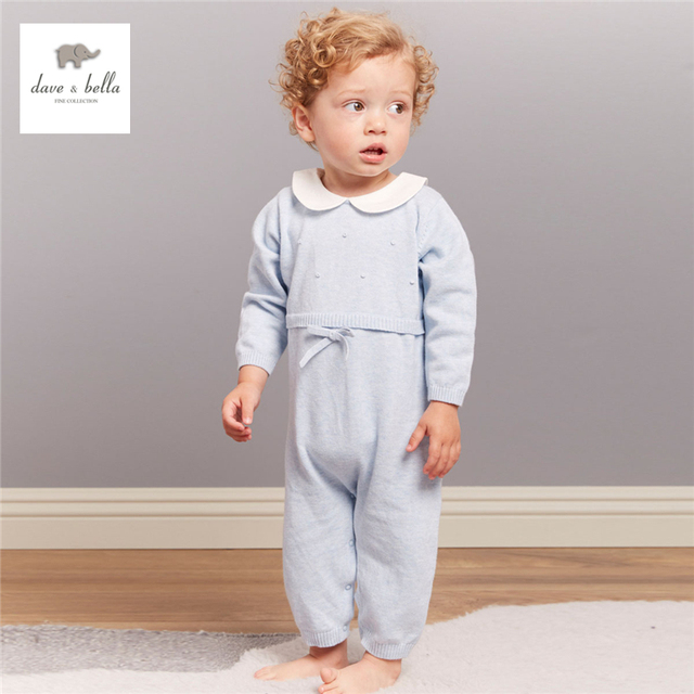 733abd73e9d DB4149 dave bella autumn baby boys girls textile solid cotton romper infant  pink blue peter pan