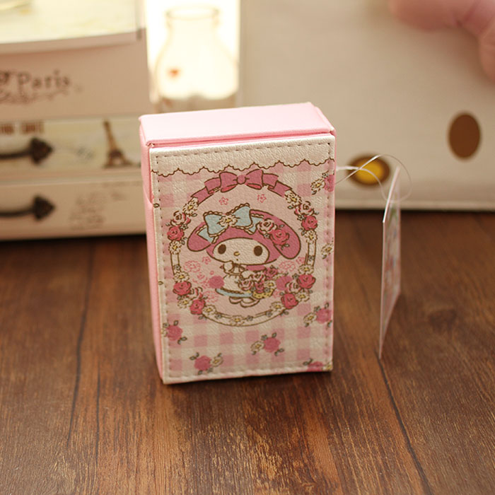 Super Cute Pink Cartoon Melody Kawaii Holding 20 Cigarette Lady PU Leather Waterproof Cigarette Box Creative Gift For Girlfriend