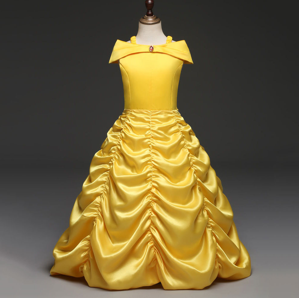 Vintage Prom Dress Children Halloween Princess Belle Costumes Kids Party Dresses for Girls In Yellow Christmas Clothes fashion christmas dress girls party accessories children s halloween costumes for girls party dress kids cute birthday dresses