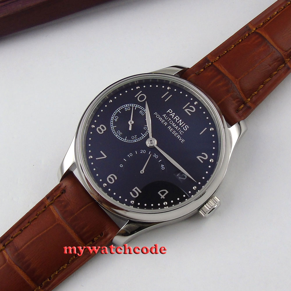 parnis black dial power reserve brown leather strap automatic mens watch 207B цена и фото