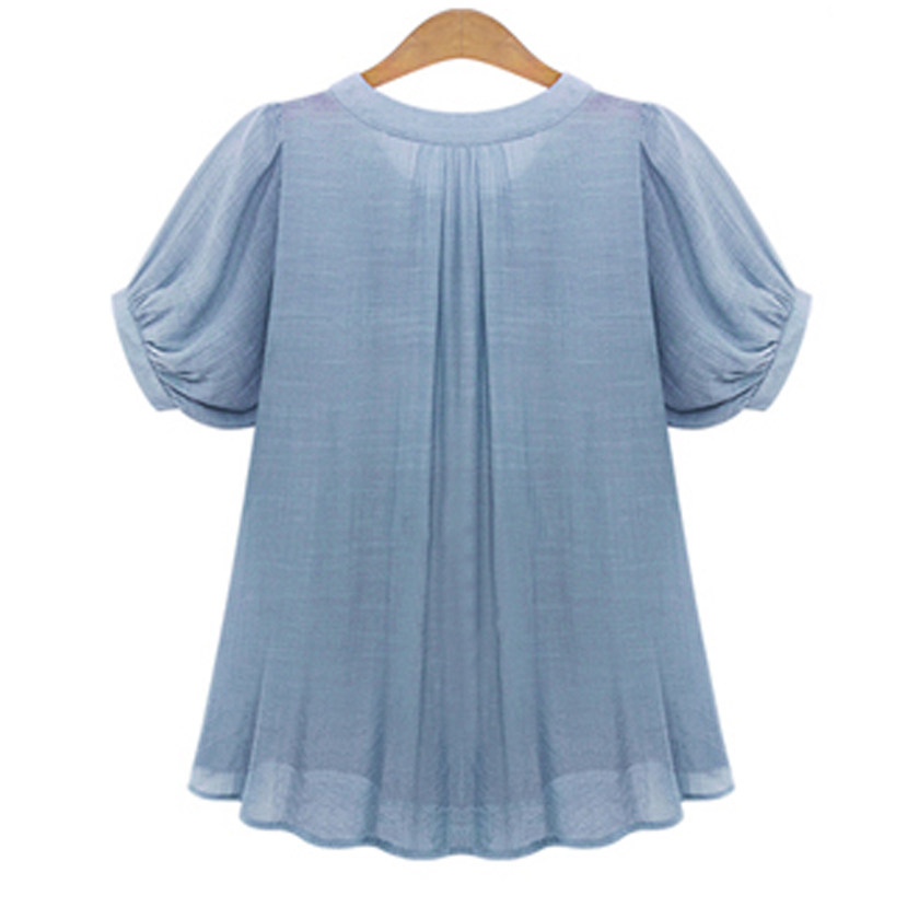 Women Shirt Blouse Big Large Size Plus Size 5XL 2017 Summer Casual Women Blouses Short Sleeves Pleat Chiffon Female Tops T7N010A 3