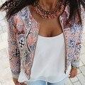 Женщины Мода Ретро Шею Длинным Рукавом На Молнии Печати Куртки И Пиджаки