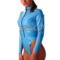 fashion latex catsuit with free chest sexy Exotic Apparel Teddies & Bodysuits in skye blue