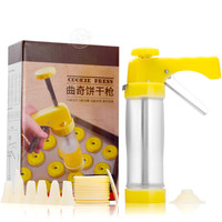 Cookie Press Kit Gun Machine Cookie Making Cake Decoration 16 Press Molds &6 Pastry Piping Nozzles&1 Adapter Biscuit Maker Tool
