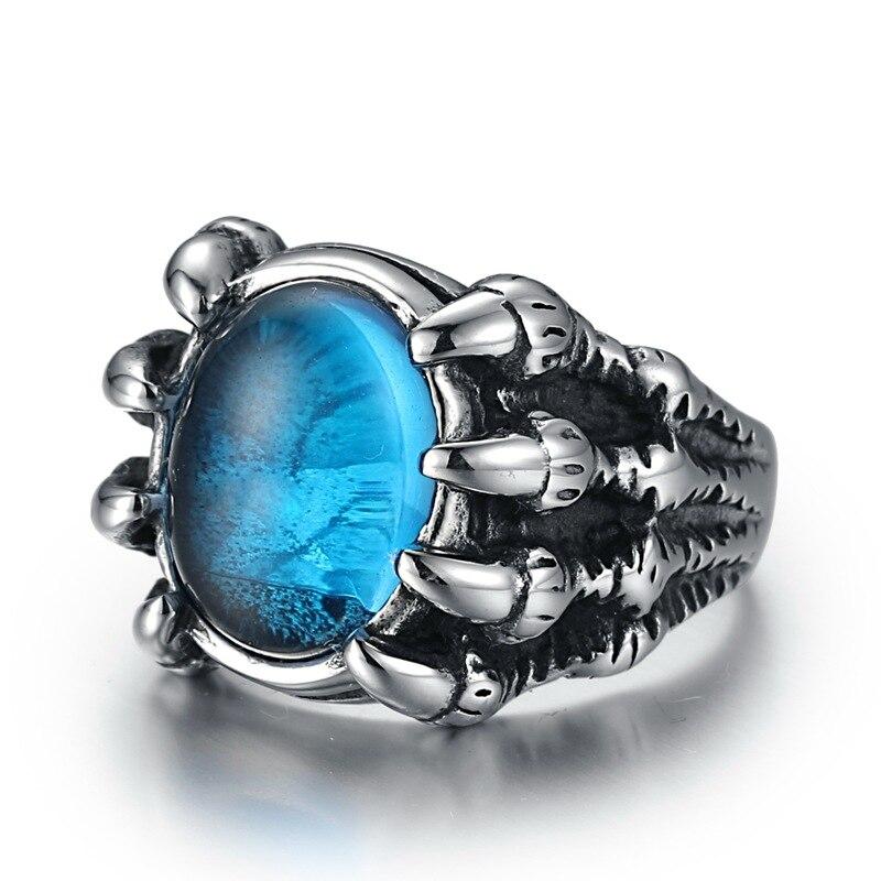 Anillo de acero inoxidable de moda WAWFROK anillos de calavera de hombre para mujeres anillo de plata Popular Punk Red Stone Jewelry garra dedo 1