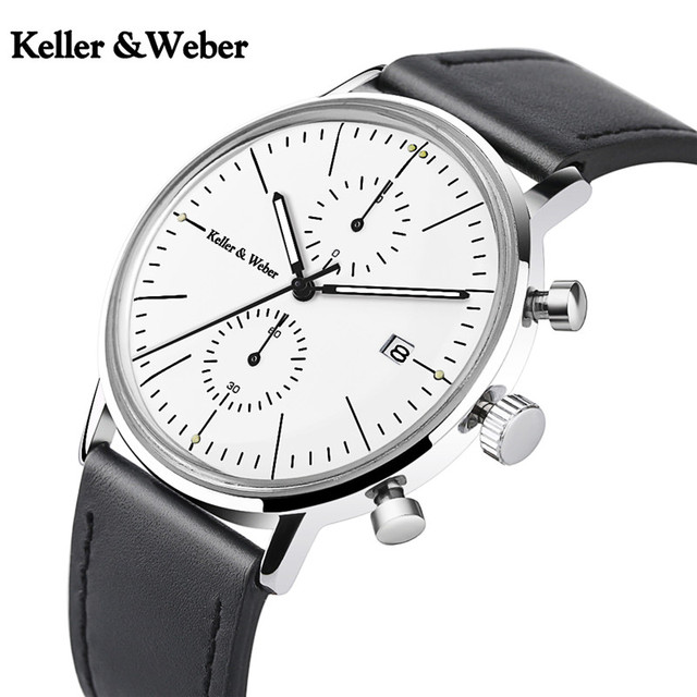 Keller & Weber Mineral Glass Men's Watches Luxury Chronograph Genuine Leather 30