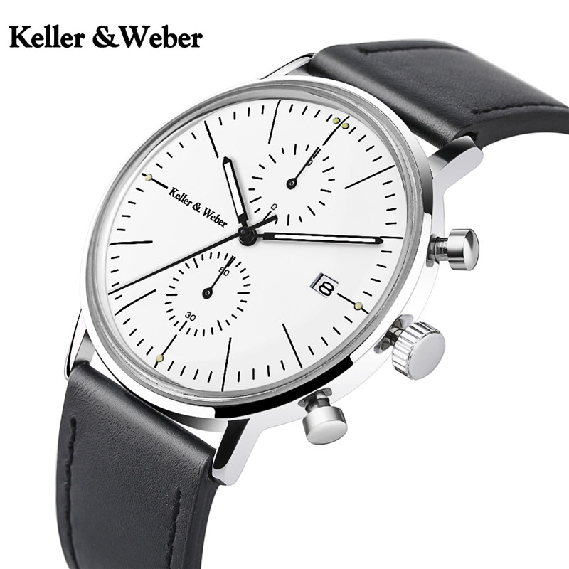 Keller & Weber Mineral Glass Mens Watches Luxury Chronograph Genuine Leather 30M Waterproof Sports Casual Male Clock Hour Gifts