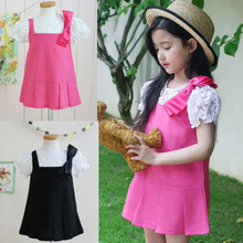 Girls Dress Summer new Ribbon Bow Lace Baby Organza Kids Clothes 2-7 years