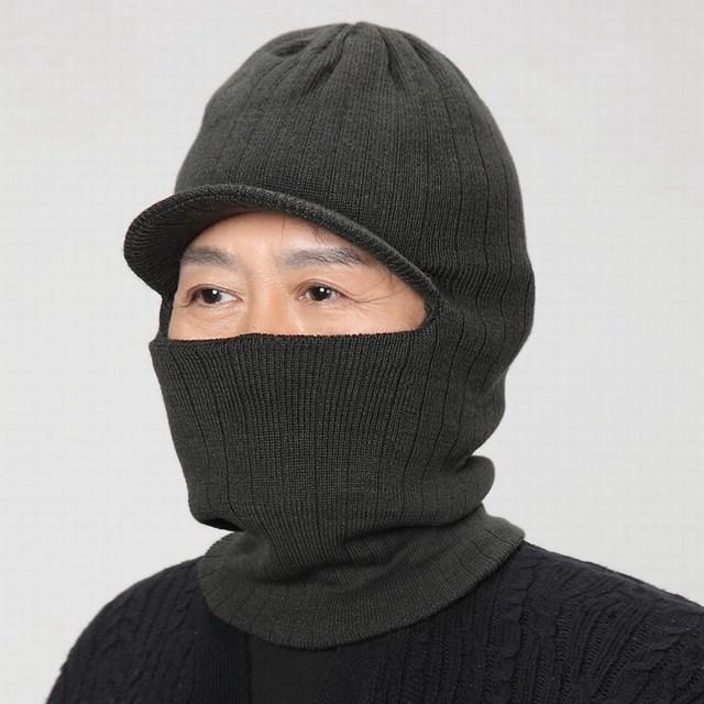 Los ancianos sombrero Hombres sombrero del invierno del hilado tapa de protección del cuello la ancianos oído protección completa fría del invierno gorros de abrigo masculino otoño sombrero
