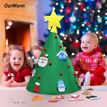 OurWarm 3D Felt Artificial Christmas Tree Mini 2019 New Year Kids Toy Decoration for Home Craft