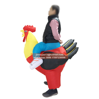 2017 Inflatable Rooster Chicken Costume Halloween Party Club Fancy Dress Costume Animal Air Suit For Adults