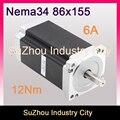 NEMA 34 CNC stepper motor 86X155mm 12 N. m 6A eixo 14mm nema 34 motor de passo 1714Oz-in para CNC máquina de gravura 3D de impressora