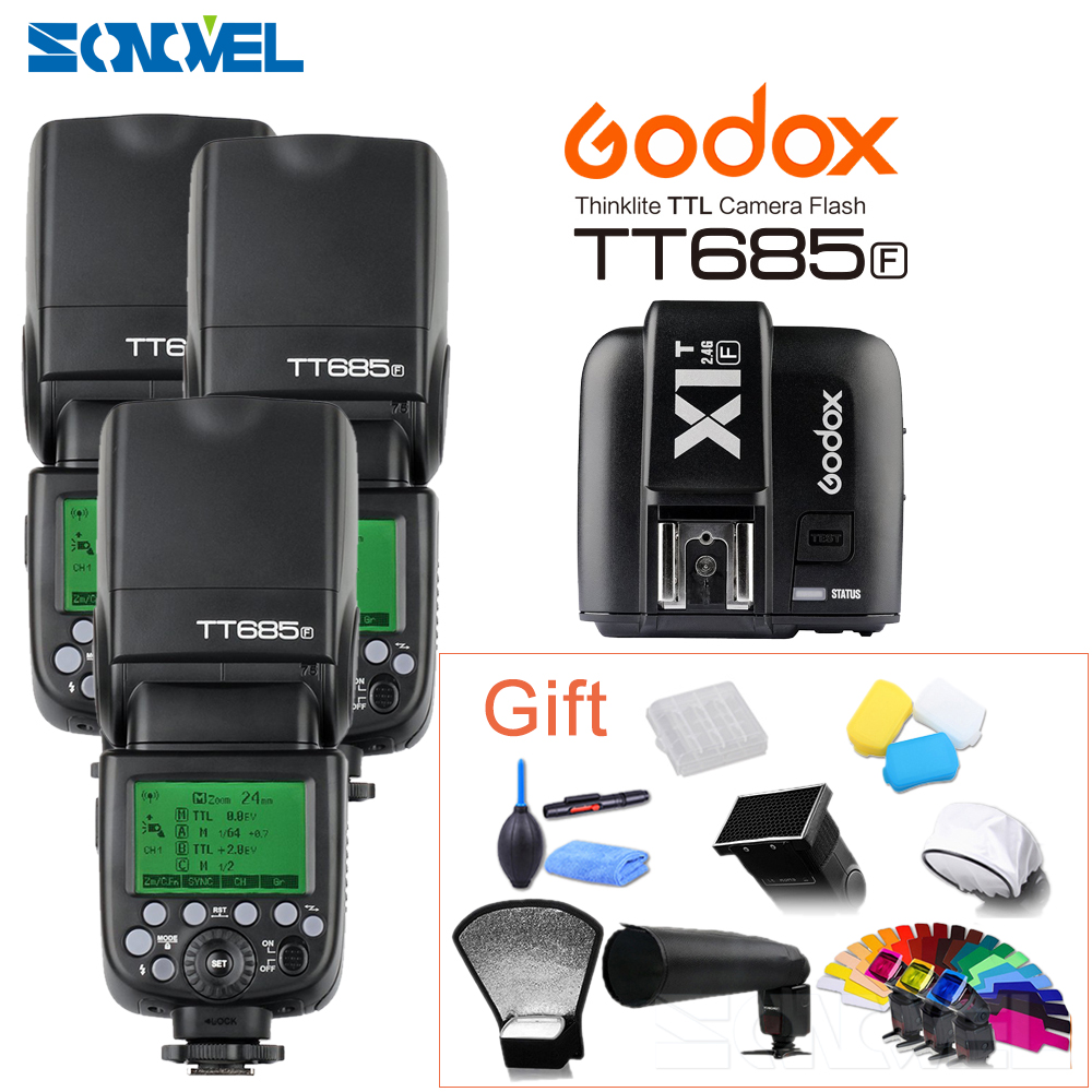 3pcs Godox Speedlite TT685F 2.4G wireless HSS 1/8000s GN60 TTL Camera strobe flash + X1t Trigger Transmitter For Fujifilm Fuji цена