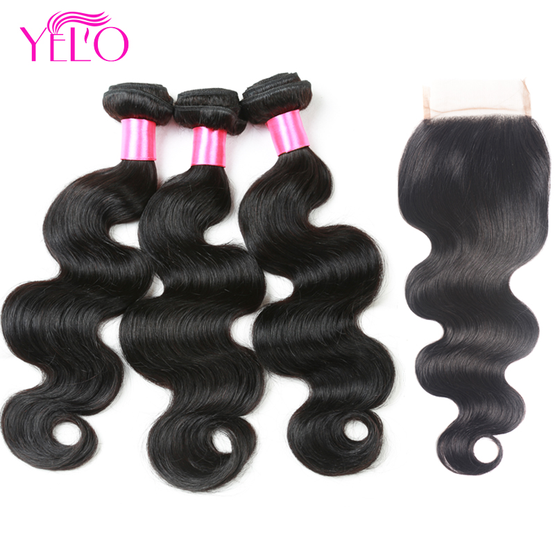 YELO Body Wave Bundles With Closure Indian Body Wave Human Hair 3Bundles With Closure #1B Pre Colored Non Remy Hair With Closure