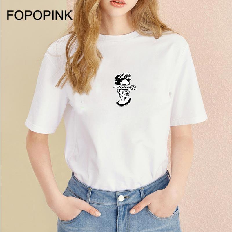 Frida Kahlo Aesthetic T Shirt Women Short Sleeve O Neck Tshirts Summer Tops For Women 2018 Tee Shirt Femme Cotton Haut Femme