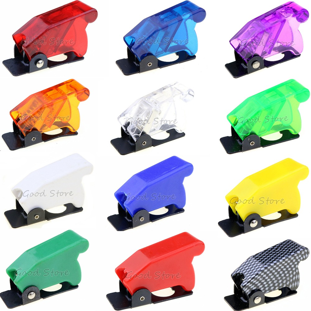 1PCS Auto Car Boat Truck Illuminated Led Toggle Switch's Safety Aircraft Flip Up Cover Guard Red Blue Green Yellow White