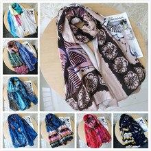 Роскошный брендовый женский летний шарф, испанская Цветочная шаль, женские шарфы с принтом