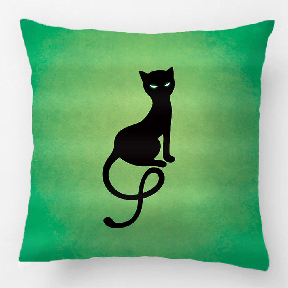 Blue Gracious Evil Black Cat Wedding Decorative Cushion Cover Pillow