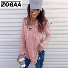 Lace Up T-Shirt Woman Solid T-Shirt Pullover Tee Top Femme Sexy V Neck Bandage Long Sleeve T-Shirt 4 Colors ZOGAA