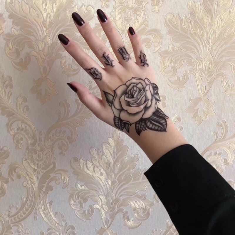 10pcs/lot temporary tattoo skull black henna tattoo for men women hand rose  tattoo sticker vampire tattoo death halloween decal