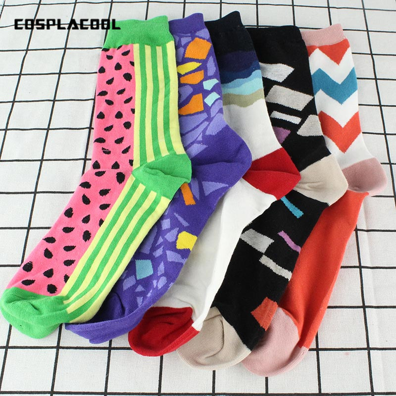 [COSPLACOOL]5 Pairs Happy Socks Men Brand Colorful Dress Stripe Meias Combed Cotton Harajuku Funny Socks Lovers Skateboard Socks