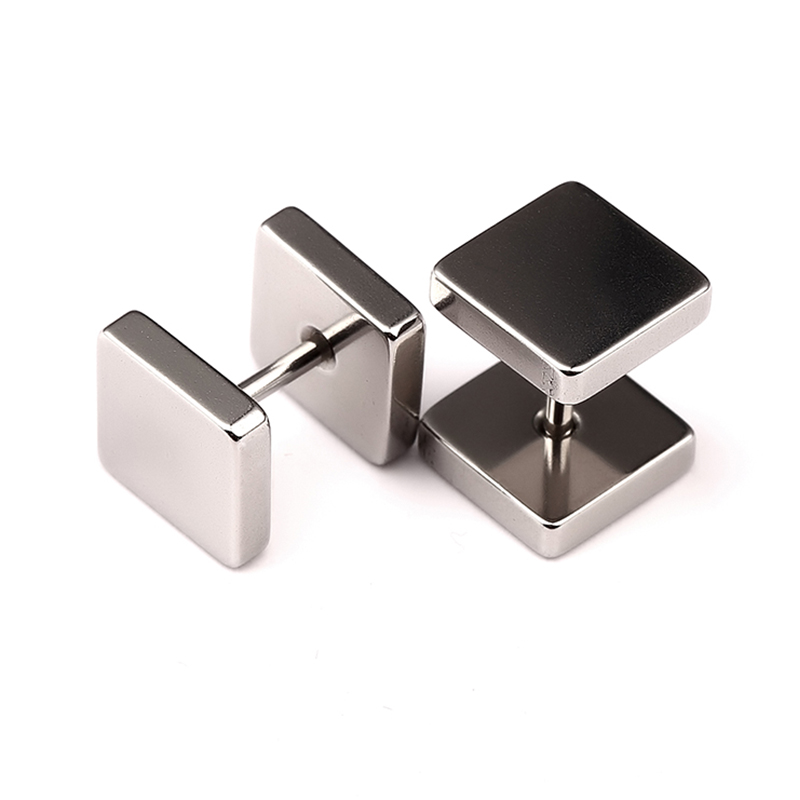 NYUK Steel Simple Fashion Stud Earring Screw-back Geometric Hip-hop Black Silver Trendsetter Earrings Unisex Men Elegant Gift