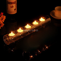 2 szt//dużo szklana rurka (5 cote) świeczniki/kryształ świecznik dla centerpieces weselnych/świecznik home decor